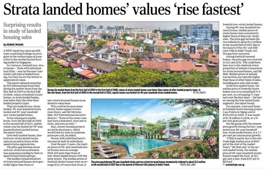 17 April 2015 - SPH news Strata Landed Homes Values Rise Fastest