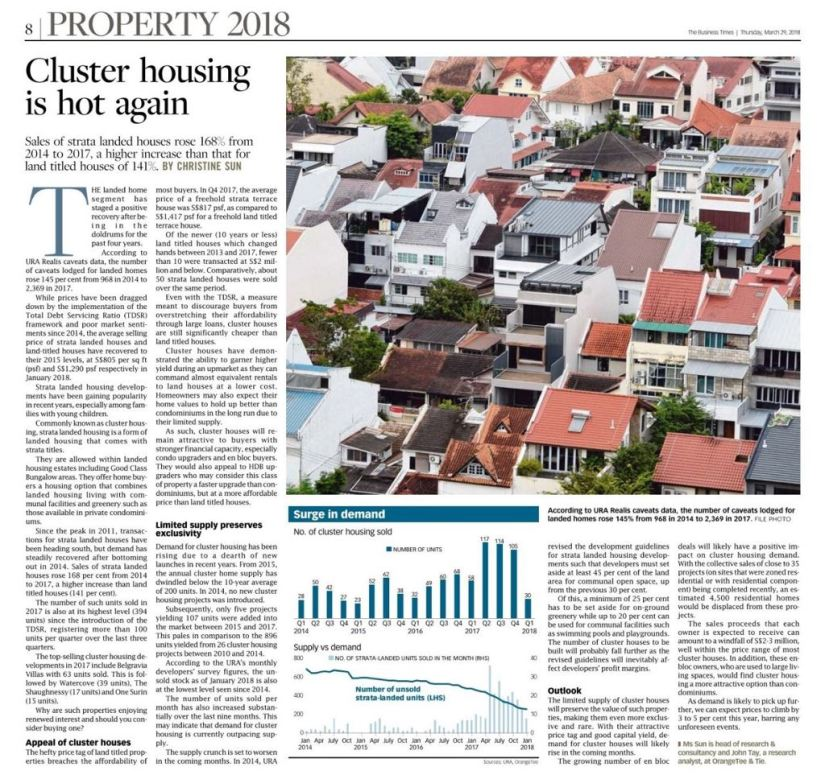 Straits Times news Cluster Housing 29 march 2018