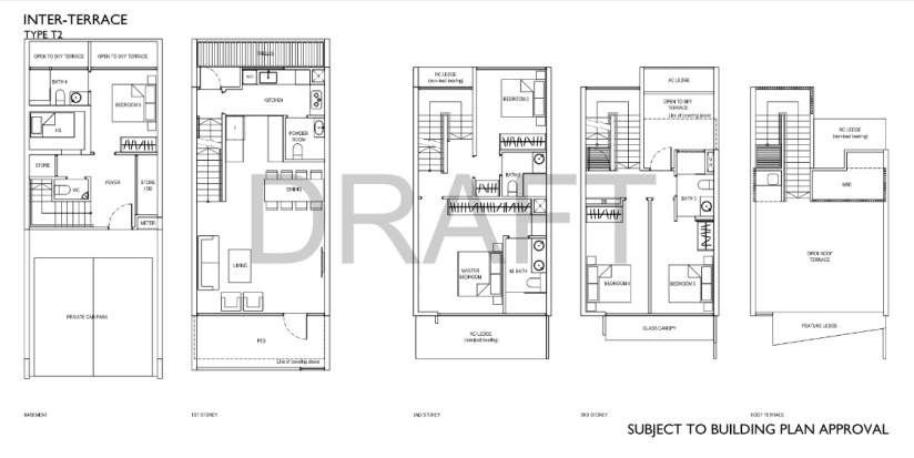 A typical Inter-Terrace Floor Plan, Type T2 at Belgravia Green