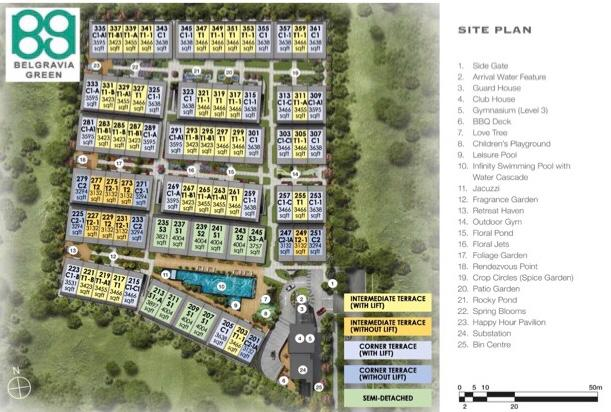 Belgravia Green Site Map with Floor area, House number, House Type, Developer, Sales Team, Clara Heng, Heng Clara, Clara