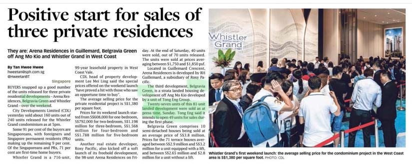 5 November 2018, Straits Times News on Belgravia Green